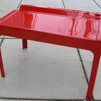 Marc Berthier Red OZOO desk, by D A N France Mid Century Desk