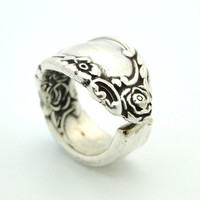 Rose Silver Spoon Ring SIZE 56 by BlackSparrowVintage on Etsy