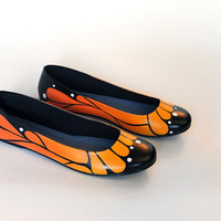Monarch Butterfly Ballet Flat Shoes