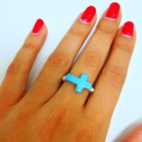 Wire Wrapped Turquoise Cross Ring
