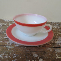 Pink Flamingo Pyrex Pyrex Cup and Saucer Pyrex Tea Cups Coffee Cup