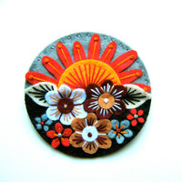 Summer felt brooch pin with freeform embroidery