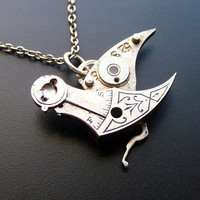 Clockwork Bird Pendant Steel Warbler Not Quite by amechanicalmind