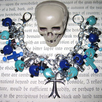 Jewelry Bracelet  Day of The Dead Sugar Skull Dia De Los Muertos Mexican Themed  Beads Crosses OOAK Eclectic Statement Piece