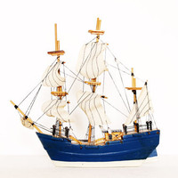 Vintage ship boat model monaco blue