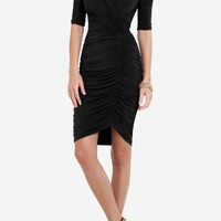 BCBGMAXAZRIA - WHAT'S NEW: NEW ARRIVALS: EVERT V-NECK RUCHED DRESS
