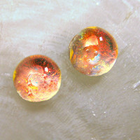 Tiny Tangerine Tango Spot of Light Dichroic Glass Stud Earrings 6mm