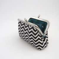 Frame Coin Purse Black Chevron/ Mini Jewelry Case with Ring Pillow