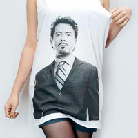 ROBERT Downey Jr T-Shirt Iron Man Shirt Tank Top Women T-Shirt Tunic Top Vest Women Shirt Sleeveless Singlet White T-Shirt Sleeveless Size M