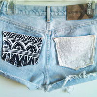 Customize Studded Tribal &amp; Lace Pocket High Waisted Shorts Free Shipping