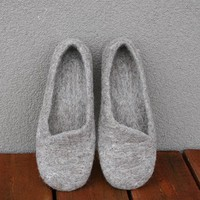 ECO Gray felted Slippers Handmade by kadabros on Etsy