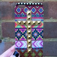 Pink Aztec Tribal Gold Dotted Cross Studded Matte iPhone 5 5G Phone Case
