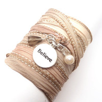 Silk Ribbon Wrap Bracelet with Believe Charm by charmeddesign1012