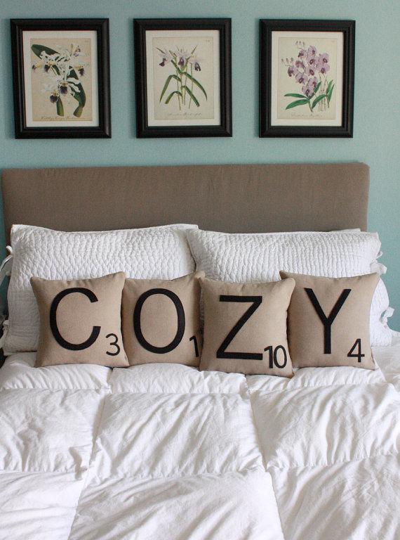 COZY Letter Pillows CASES ONLY by shopdirtsa on Etsy