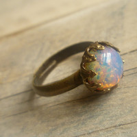 Vintage Firestone Pink and Gold Opal Ring .. Featured on Etsy Front Page