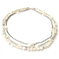 Bliss Silver and Pearl Necklace
