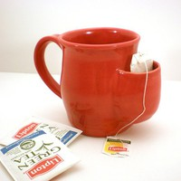 Tea Drinkers Sidekick Mug, Red Cup, Tea Bag Pouch