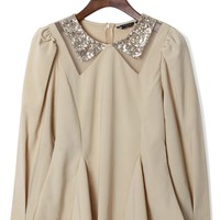 Nude Long Sleeve Peplum Top with Sequin Point Collar