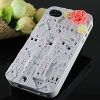 Vintage Victoria Whith European Style Building, resin flower Case Cover ----for Appele iPhone 4 Case, iPhone 4s Case, iPhone 4 Hard Case