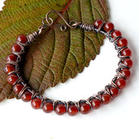 Carnelian beaded bracelet -  red orange gemstones & copper wire wrapped bangle