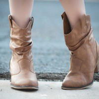 SK0114HU Slouchy Cowboy Ankle Bootie (Camel) - Shoes 4 U Las Vegas