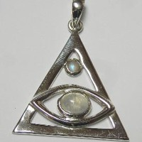 Third Eye Triangle Double Moonstone Cab Pendant. Sterling Silver Shri Lanka