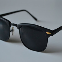 1980s Solid Black Vintage Deadstock Clubmaster Classic Sunglasses