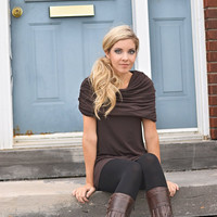 Fall clothing sleeveless cowl tunic in brown bamboo jersey