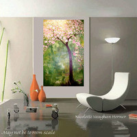 Huge  Original  modern mixed media impasto floral  tree  by artmod