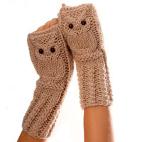 Owl fingerless mittens / gloves /wristwarmers in oatmeal, wool alpaca acrylic yarn blend