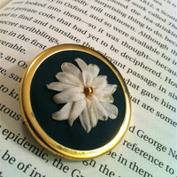 Hand Embroidered Silk Ribbon Flower by BeanTownEmbroidery on Etsy