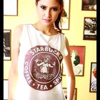 STARBUCKS Vintage 1971 Tank Top Crop Top Shirt Women T-Shirt White Gold Size S M