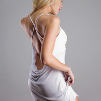 White  Wedding Lingerie Sleepwear-  Backless Nightgown Dress - Medium