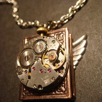 Steampunk Neo Victorian Watch Movement LOCKET Necklace with Wings (595)