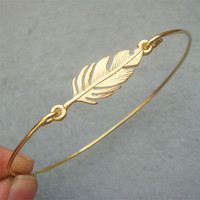 Leaf Brass Bangle Bracelet Style 7 on Luulla