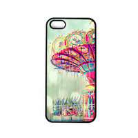 Iphone 5 Case. Carnival. Swings. Dreamy. Photo. Blue. Pink. Colorful. Santa Cruz. iphone cover. surreal. girly. bright. yellow