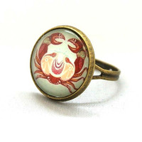 10% SALE - Ring Cancer Zodiac Crab Jewelry Astrological Signs and Symbols Circle Shape Special Jewelry