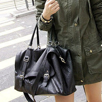 Black PU leather Bag Fashion Shoppers Casual Hobo shoulder Totes Clutch handbag