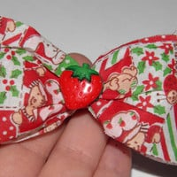 Strawberry Shortcake barrette - hair bow accessories - vintage ribbon - 80s cartoon - red, Holidays, strawberry center, Strawberry Shortcake