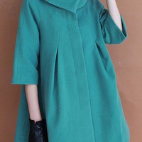 OASAP - A-line Cropped Sleeve Worsted Coat - Street Fashion Store