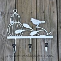 Metal Wall Hook /White Bird Cage /Shabby Chic Decor /Tree Branch /Whimsical Bathroom Hanger /Key Holder /Bedroom /Mud Room Rack /Nursery
