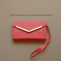Amazon.com: TORU Nekeda Clutch Wallet Case with Mirror for iPhone 4/4S - Pink: Cell Phones & Accessories