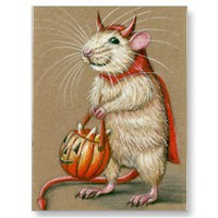 Rat Devil Halloween Postcard from Zazzle.com