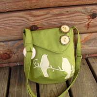 Mini Tweeting Birds Olive Green shoulder bag with by LBArtworks