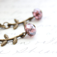 Small Dangle Earrings, Light Purple Plum Berry Tiny Branch, Leaves, Leaf details, Glass Bead Drop, Leverback, Antique Brass, Nickel free,