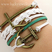 Infinity bracelet, cross bracelet, anchor bracelet, God's blessing bracelet,  braid leather bracelet