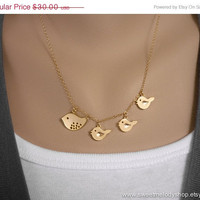 AUTUMN SALE - Family Bird Necklace - Mother and Three Baby Birds on 14k Gold Filled Chain - lovely gift, mom, sister, daughter, christmas