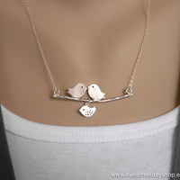 AUTUMN SALE - Our Lovely Family - Love Birds with Child on Branch Necklace - Sterling Silver Chain - perfect gift, mom, anniversary
