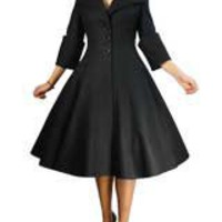 Black Plus Size Retro Wool Coat