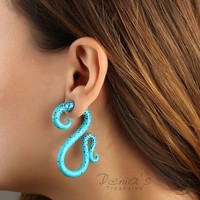 Hand-painted Fake Gauge Earrings, Turquoise Fakers, &quot;Confetti&quot; Polymer Clay